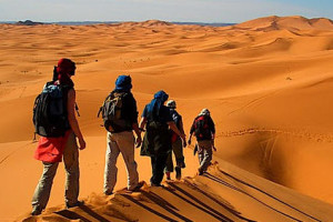 group walking on the desert of Morocco